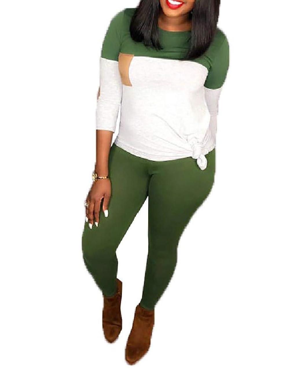 アクセスチェスをする感じKankanluck Women Color Block Two Pieces Outfits Casual Active Sports Suit