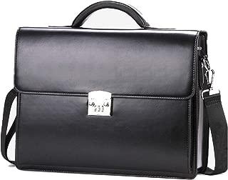 Ecentaur Leather Briefcase for Men Mens Business Laptop Messenger Bag Black