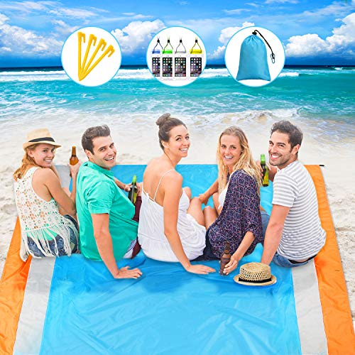 Sand-Free Beach Blanket (82 x 79 Inch), Extra Large Oversized Beach Mat with 4 Anchors and 4 Waterproof Mobile Phone Bag, Sand Proof Quick Drying Picnic Mat for Travel, Camping, Hiking, Music Festival