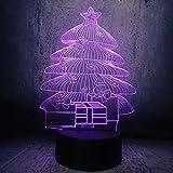 Lámpara de ilusión 3D Luz de noche Led en forma de seta Árbol de Navidad Bombilla USB Decoración Regalo Color degradado Hada Romántica Decoración de oficina en casa