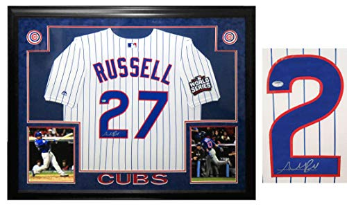 Addison Russell Signed & Framed Chicago Cubs White Pinstripe 2016 World Series Patch Majestic Jersey