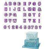 Set di 40 stampini con lettere e numeri, per realizzare decorazioni per torte, biscotti, pasta di zucchero e fondente. Utensili per decorazioni fai da te