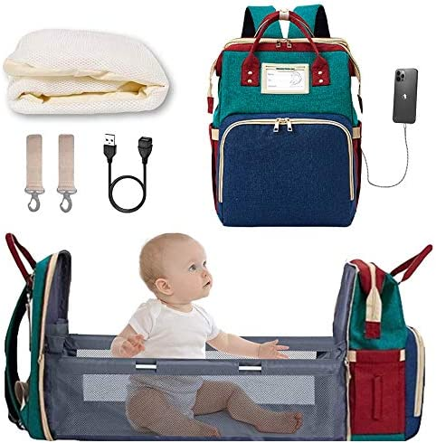 Diaper Bag Backpack with Extendable Folding Crib YXUN Baby Bag for Girls Boys with Changing product image