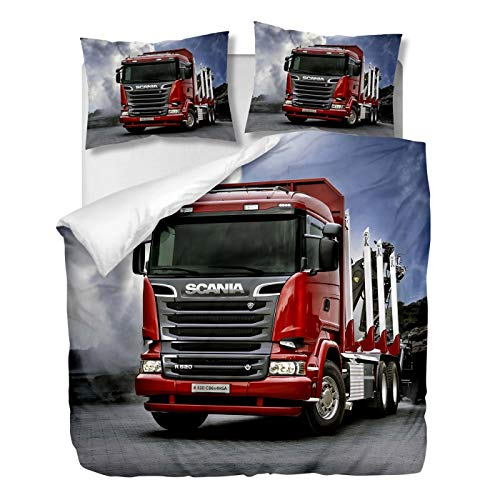 OliveSleep Red Scania Truck Duvet Cover Set Double Size,Quilt Cover Set,Decorative 3 Piece Bedding Set with 2 Pillowcases, (Multi 18, Double)