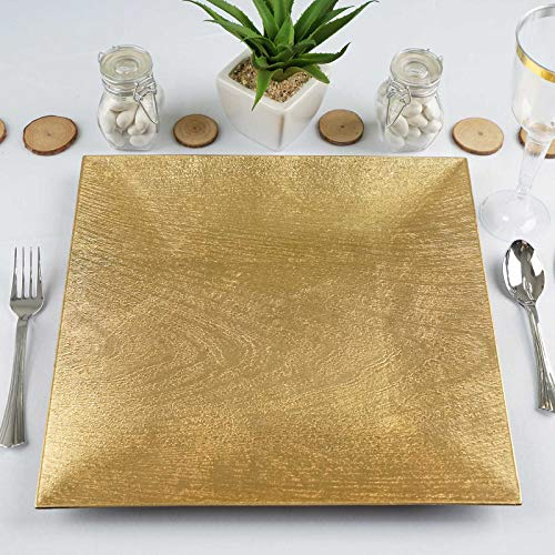 """Tableclothsfactory 6 Pack 12"""" Square Wooden Textured Gold Acrylic Charger Plates Wedding Party Dinner Servers Chargers for Tabletop Decor"""