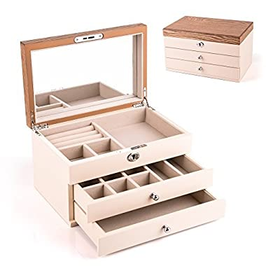 HEZALA Wooden Jewelry Organizer, Vintage Jewelry Box Storage Case with Large Mirror for Necklaces, Bracelets, Earrings, Beige