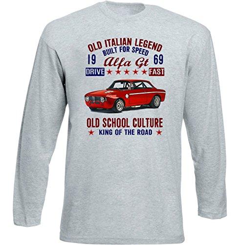 TEESANDENGINES Alfa Romeo GT Junior 1969 Tshirt de Manga Larga Gris para...