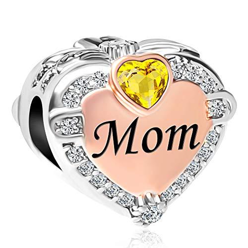 CharmSStory Rose Gold Mom Heart Love Charm Bead for Bracelets