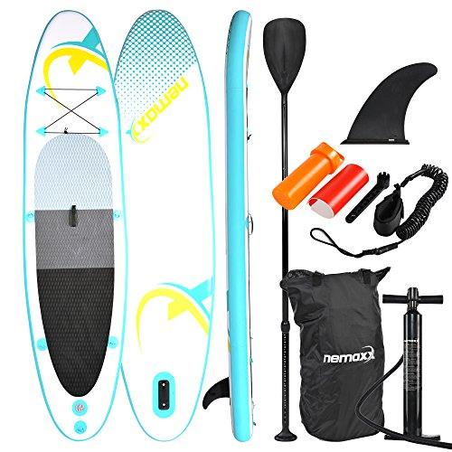Nemaxx Tabla de paddel Surf Sup 320x78x15 cm, Turquesa/Amarillo - Tabla de Paddle Board - Tabla de Surf - Hinchable con Mochila, remos, Aletas, Bomba de Aire, Kit de reparación, Correa para pie.