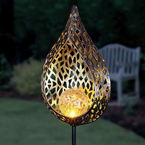 "Exhart Solar Metal Filigree Garden Stake Light – 35"" Tall Solar Stakes for Garden – Waterproof, LED Light for Lawn, Courtyard, Garden, or Patio - Metal Solar Garden Lights - 6.5"" x 35.5"" inches"