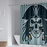 Duschvorhangs Pirat Duschvorhang Modern Polyester Stoff Anti Schimmel Wasserdicht Waschbar Verstärktem Saum Mit 12 Haken 240 X 200 cm