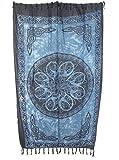 Sarong Pareo Keltisches Blumen Mandala Jeansblau/große Auswahl schönste Farben/Wickelrock Strandtuch Sauna-Tuch Wickelkleid Schal Wickeltuch Bademode Freizeitmode Sommermode/aus 100% Viskose