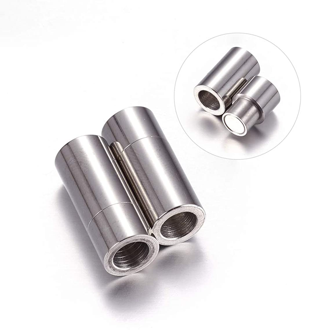 DanLingJewelry 304 Stainless Steel Magnetic Clasps Magnet Converter for Bracelet Necklace Making (Stainless Steel Color, Approx 10pcs, 7x19mm,Hole:5mm)