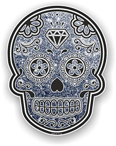 sticker licker Mexicain Jour des Morts Calavera Concu avec Gris/Argent Brillant Paillette Effet Vinyle Autocollant Voiture 120x92mm