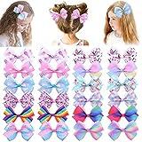 24 lazos para el pelo para niñas pequeñas de 4,7 pulgadas con diseño de unicornio, cinta de grogrén, accesorios para el pelo para niños y adolescentes