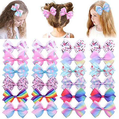 24pcs 4.7inches Baby Mädchen Haarschleifen Krokodilklemmen Einhorn Grosgrain Ribbon Boutique Haarschmuck für Kleinkinder Teenager Kinder