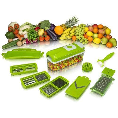 Descascador Cortador Fatiador Legumes e Verduras 12 Peças