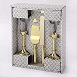 Elegantes Toast-Gläser-Set mit Tortenmesser und Tortenheber – perfekt für Hochzeit, Verlobung, Jahrestag, Valentinstag oder besondere Geburtstagspartys gold