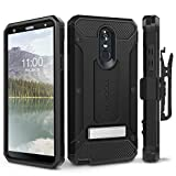 Evocel Explorer Series Pro Phone Case Compatible with G Stylo 4 (2018) with Glass Screen Protector and Belt Clip Holster, Black