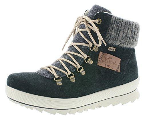 Rieker Damen Winterstiefel Y4330,Frauen Winter-Boots,warm,Tex-Membran,wasserfest,Blockabsatz 3.9cm,wasserdicht,schwarz/anthrazit/anthrazit/mogano, EU 39