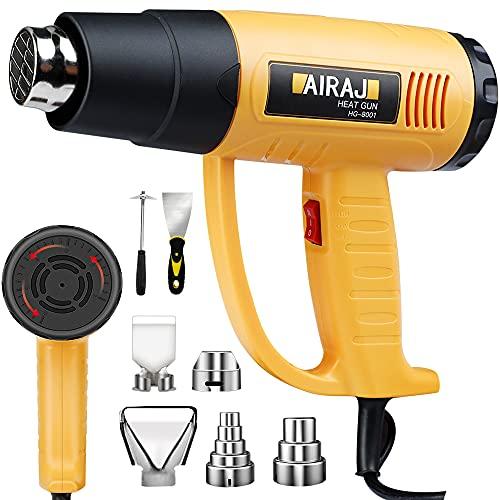 AIRAJ Pistola de Aire Caliente 2000W, Ajuste Continuo de Temperatura 50 ℃ -650 ℃,5 Boquillas,Pistola de Aire Caliente Profesional Para Quitar Pintura