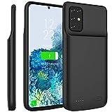 Compatible avec Samsung Galaxy S20 Plus 6.7 Inch Coque Batterie, 6000mAh Rechargeable Externe Chargeur de Batterie Power Bank Coques d'alimentation Extra Backup Housse Batterie de Secours Noir