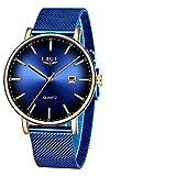 Relojes para Hombre de Moda Relojes Azul de Marca Superior Relojes Impermeables Fecha Ultrafina Relojde Cuarzo Casual Simple Relojdeportivo para Hombres