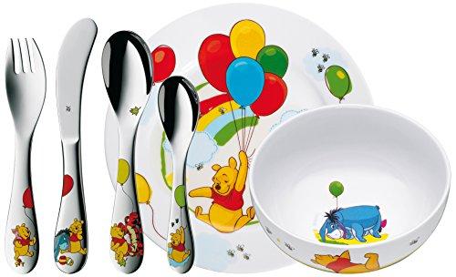 WMF Disney Winnie Pooh Kindergeschirr mit Kinderbesteck, 6-teilig, mit Namensgravur, ab 3 Jahren, Cromargan Edelstahl poliert, Gravurgeschenk für Taufe oder Geburtstag