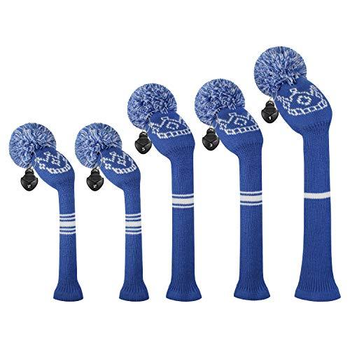 ゴルフクラブカバーは、ドライバーウッド(460 cc)1フェアウェイWood 2とハイブリッド(UT)2のためにぴったりの5つの二重層糸編みスタイル・スタイルのセットをカバーしました (Crown Pattern Navy Blue)