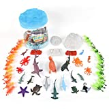 Sunny Days Entertainment Sea Creature Bucket – 56 Piece Toy Play Set for Kids   Aquatic Animals Plastic Figures Playset with Storage Bucket