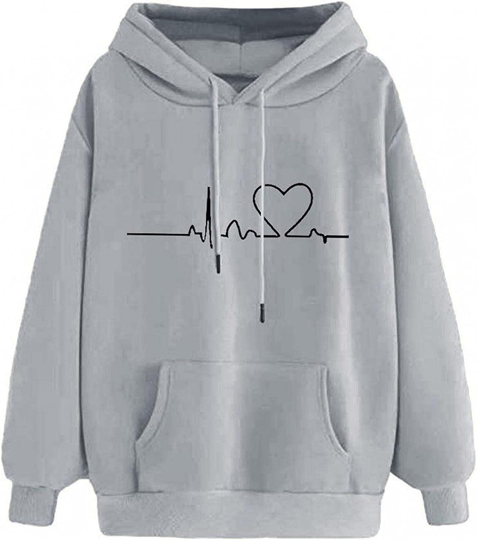 Sweatshirts for Women, Women Zip Up Hoodie Vintage Graphic Print Oversized Long Sleeve Aesthetic Comfy Shirt