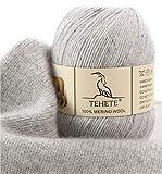 TEHETE Ovillo de lana, 100% Hilados de lana merino Hilo 50g para manta, suéter...