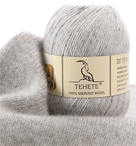 TEHETE Ovillo de lana, 100% Hilados de lana merino Hilo 50g para manta, suéter calcetín, bufanda, diy, ganchillo y tejido(Gris)