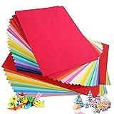 Cartulina de colores A4, 100 unidades, 230 g, 20 colores variados, papel de origami,...