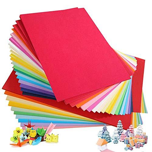 100 Blatt buntes DIN-A4 Ton-Papier, Ton-Zeichen-Papiere bunt, Set aus 20 Farben, bunte Blätter in 180g/m², Zubehör zum Basteln, DIY- Material