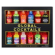 Thoughtfully Gifts, Global Cocktail Mixers, 2.3 Fluid Ounces Each, Mixes of Classic Margarita, Cuban Style Mojito, New York Appletini, Pina Colada, Blue Hawaiian, Set of 12(Contains NO Alcohol)