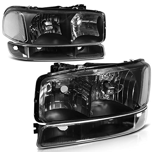 Headlight Assembly replacement for GMC For Sierra 1500 1999-2006 for GMC For Sierra 1500 Classic 2007 for GMC For Sierra 1500 HD 2001-2003 2005-2006 Black Housing Clear Reflector Clear Lens