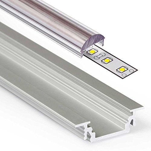 GROOVE (GR) Einbau Aluminium Profil Leiste eloxiert | L - 2m x B - 1,80cm x H - 0,62cm | Alu Kanal für LED Streifen + Acryl Abdeckung transparent lens click + 2X Endkappen | Aluprofil für Stripes bis 10,4mm Breite +belastbar