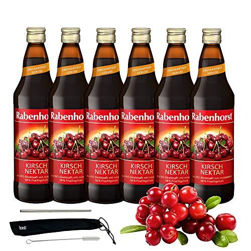 Rabenhorst Saft Kirsch-Nektar 6x 700ml Vegan Mindestens 58% Fruchtgehalt (besonders hoher Fruchtgehalt) PLUS fooodz-Trinkhalm Set mit Reinigungsbürste
