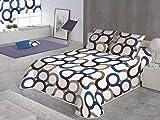 SABANALIA - Colcha Aros (Disponible en Varios tamaños y Colores), Cama 135-230 x 280, Azul