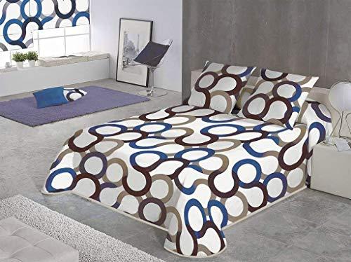 SABANALIA - Colcha Aros (Disponible en Varios tamaños y Colores), Cama 150-250 x 280, Azul