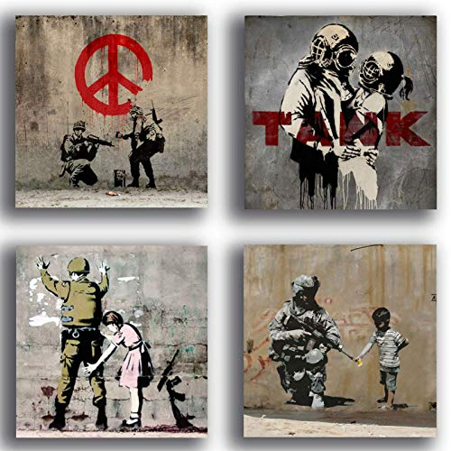 Tableaux modernes style Banksy mur street art paix guerre...