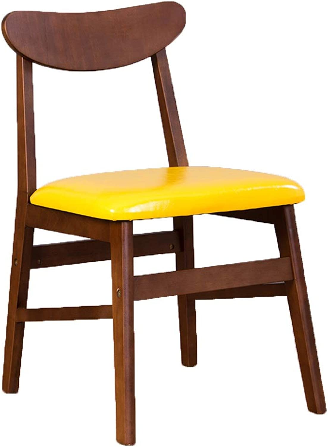 Dining Chairs Dining Table Chair Kitchen Chairs- Household Modern Minimalist Restaurant Dining Table and Desk Chair Leisure Stool Back Nordic HENGXIAO (color   Yellow, Size   Brown Legs)