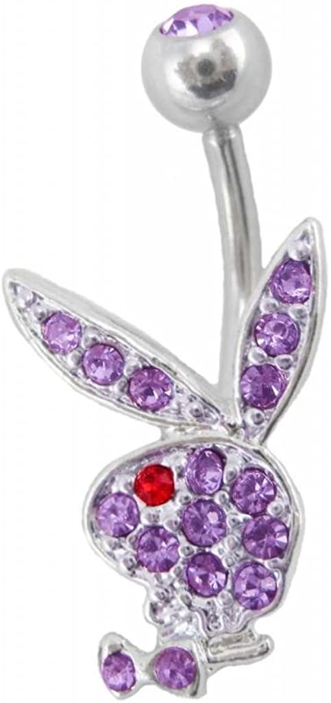 Officially Licensed Purple Playboy Bunny Rabbit Belly Navel Ring Piercing bar Body Jewelry 14g