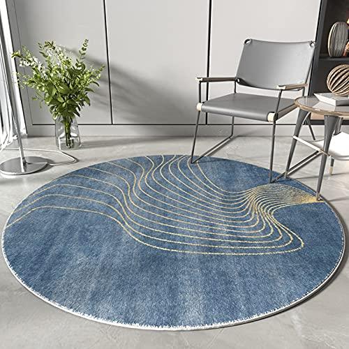 Blu contemporaneo superficie rotonda tappeti 100 cm 120 cm tappeto per soggiorno camera studio camera da letto casa comodino divano tavolino da caffè tavolino antiscivolo ( Size : Diametro 120cm )