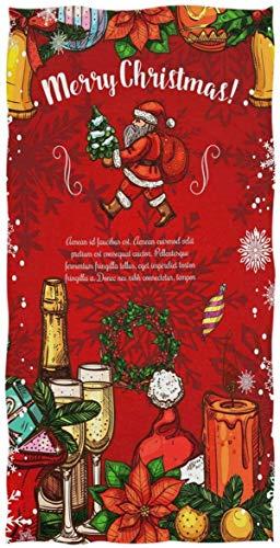 Rock SkullHand Towels Toalla de baño, Papá Noel Gift Wreath Vela Champagne Poinsettia Ultra Soft Highly Absorbent Small Bath Towel Winter MerryRock SkullRegalos de decoración de baño70×140cm