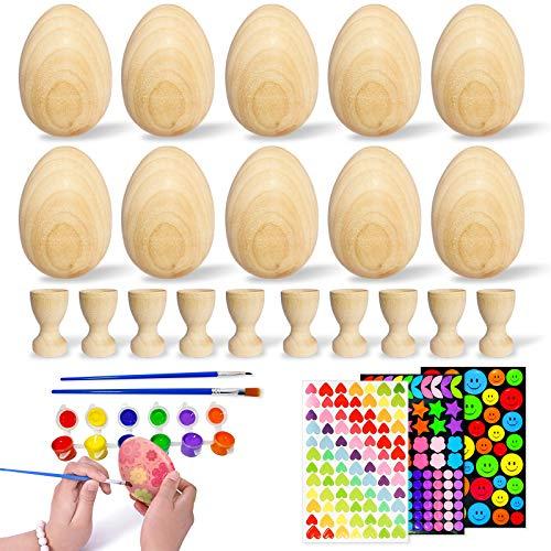 LSIOPO 10 Huevos de Madera, Huevos de Pascua Decorativos, 10 Hueveras de...