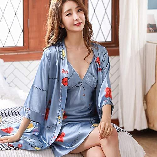 YRTHOR 2-teiliges Nachthemd-Set mit Blumendruck, Hochzeits-Bademantel, Kimono,...