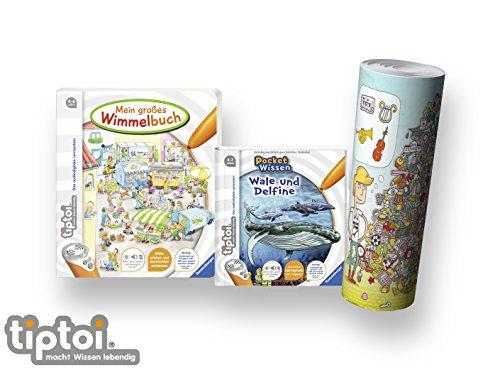 tiptoi Ravensburger Buch 4-7 | Mein großes Wimmelbuch + Pocket Wissen - Wale und Delfine + Kinder Wimmel Such-Poster
