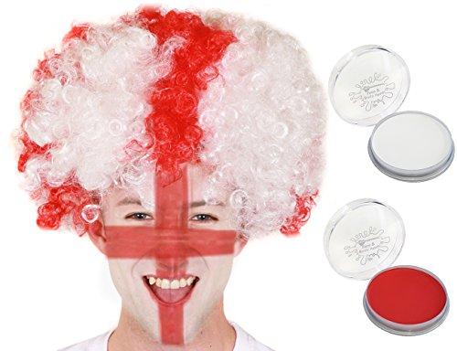Juego de disfraz de San George, peluca blanca y roja, peluca de bandera de Inglaterra con pintura de rostro, peluca de cruz de San George, con pintura blanca y pintura de cara roja